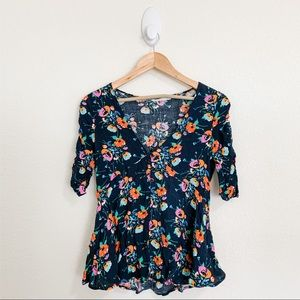 🌻Zara Blue Floral Short Sleeve Button Blouse Sm